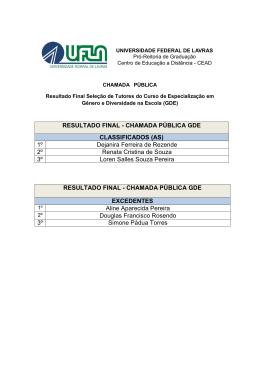 RESULTADO FINAL - CHAMADA PÚBLICA GDE