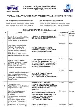 trabalhos aprovados para apresentação no iii sts