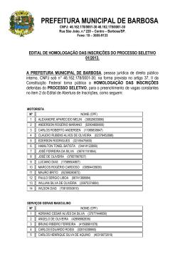 Homologacao das inscricoes 15/03/2013