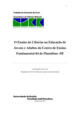 O Ensino de Ciências na Educação de Jovens e Adultos do Centro