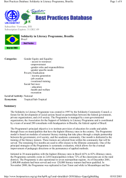 Summary Solidarity in Literacy Programme, Brasilia