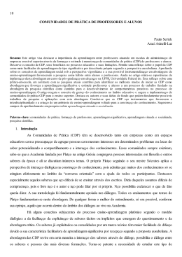 COMUNIDADES DE PRÁTICA DE PROFESSORES E ALUNOS