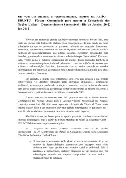 Rio +20: Um chamado à responsabilidade, TEMPO DE AÇÃO