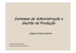 Sistemas de Administração e Gestão da Produção