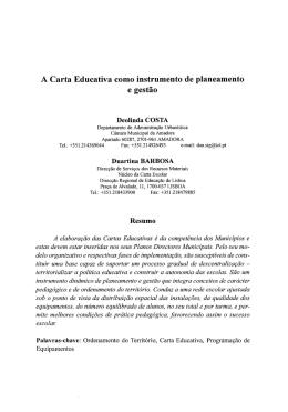 A Carta Educativa como instrumento de planeamento e gestão
