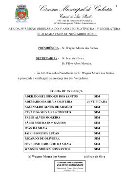 35ª Sessão Ordinária - Câmara Municipal de Cubatão