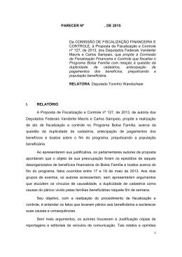 PARECER Nº , DE 2015