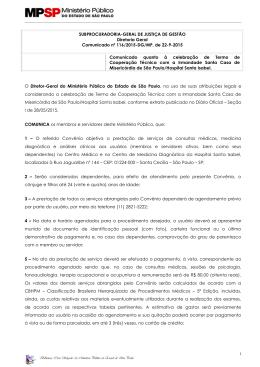 Comunicado nº 116/2015