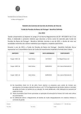 Relatório de Controlo do Exercício de Direitos de Voto FPBD