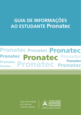guia de informações pronatec - Universidade Anhembi Morumbi