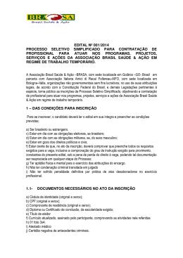 EDITAL No. 001 2014 BRASA CONTRATAÇÃO