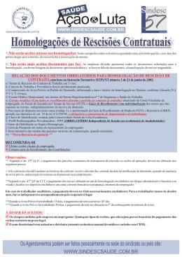 Relação de documentos obrigatórios para homologação