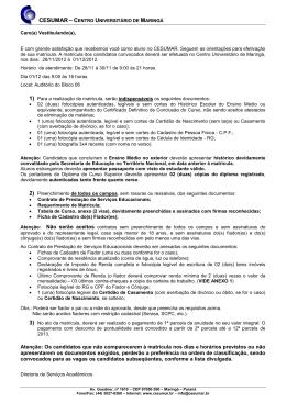 Relação de documentos exigidos para matrícula