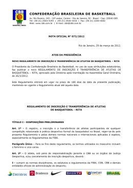 N° 072/2012 - Confederação Brasileira de Basketball #CBB