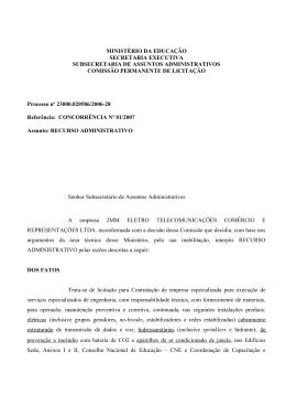 MINISTÉRIO DA EDUCAÇÃO SECRETARIA EXECUTIVA