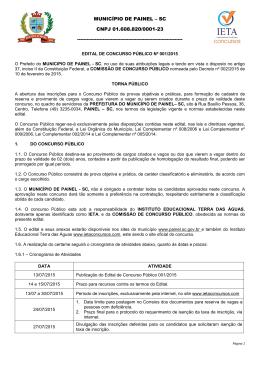 Abertura Edital - Concurso Prefeitura Painel/SC