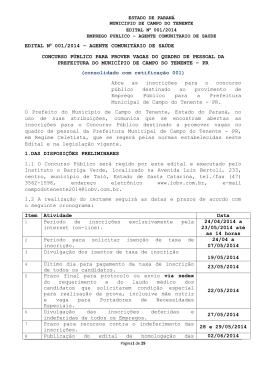 EDITAL Nº 001/2014 – AGENTE COMUNITÁRIO DE SAÚDE