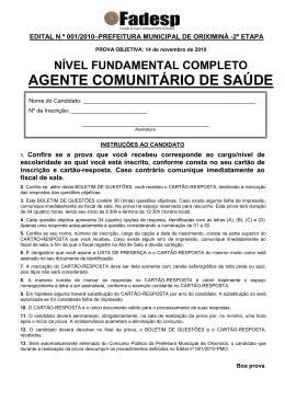 PROVA AGENTE COMUNITARIO DE SAUDE