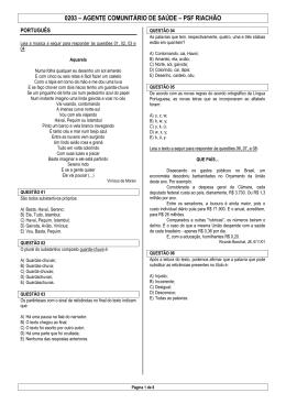 0203 – AGENTE COMUNITÁRIO DE SAÚDE – PSF RIACHÃO