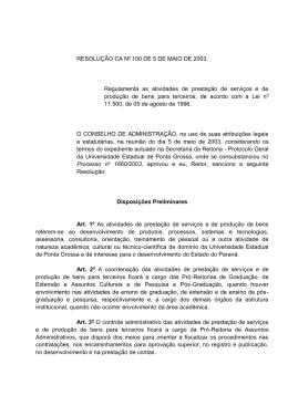 Resolução CA n.º 100 - Universidade Estadual de Ponta Grossa