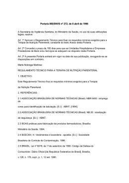 Portaria MS-SVS nº 272, de 08-04-1998
