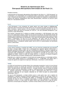 Relatório da Administração 2014 Eletropaulo