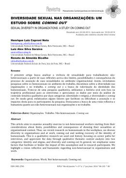 diversidade sexual nas organizações: um estudo sobre coming out