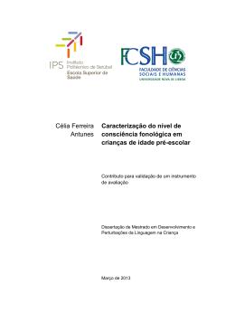Caracterização do nível de CF em crianças de idade pré