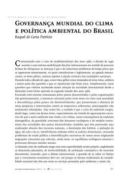 Governança mundial do clima e política ambiental do Brasil