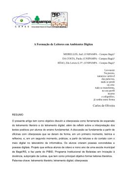 A Formação de Leitores em Ambientes Digitas Carlos de Oliveira
