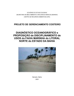 DIAGNÓSTICO OCEANOGRÁFICO e PROPOSIÇÃO de