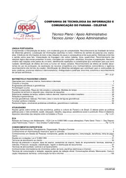 Técnico Pleno / Apoio Administrativo Técnico Júnior / Apoio