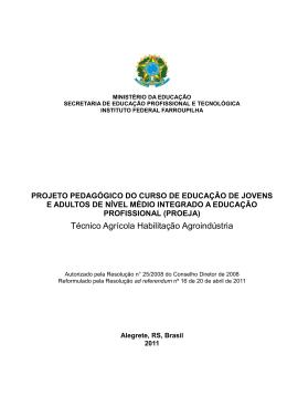 Técnico em Agroindústria PROEJA - Instituto Federal de Educação