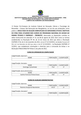público o RESULTADO DA SELEÇÃO SIMPLIFICADA - Cefet-MA