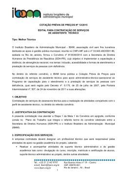 COTAÇÃO PRÉVIA DE PREÇOS Nº 12/2015 EDITAL PARA
