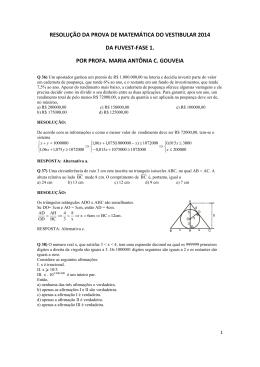 resolução da prova de matemática do vestibular 2014 da fuvest