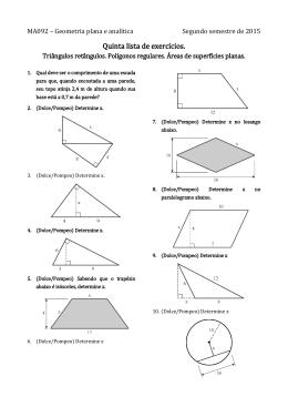 Triângulos retângulos. Polígonos regulares. Áreas de superfícies