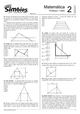 Lista 02 - Semelhança de triângulos e triângulo retângulo