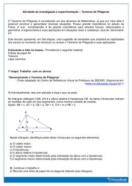 Atividade de investigação e experimentação – Teorema de