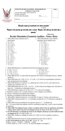 Revisão Matemática (Geometria Analítica – Ponto e Reta)
