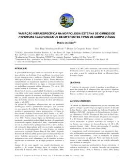 Variação intraespecífica na morfologia externa de girinos de