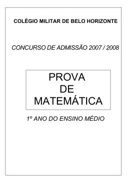 Prova MAT - Colégio Militar de Belo Horizonte