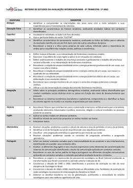 roteiro de estudos da avaliação interdisciplinar - 3º trimestre