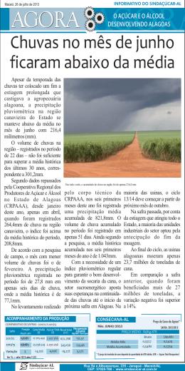 Chuvas no mês de junho ficaram abaixo da média