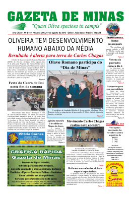 Oliveira tem desenvolvimento humano abaixo da média Resultado