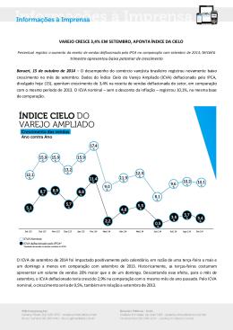 VAREJO CRESCE 3,4% EM SETEMBRO, APONTA ÍNDICE DA CIELO