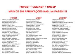 FUVEST + UNICAMP + UNESP MAIS DE 650 APROVAÇÕES NAS