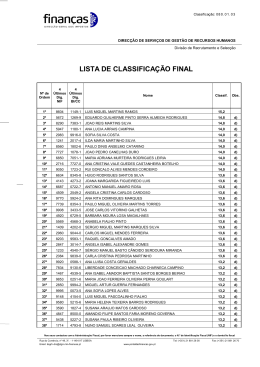 LISTA DE CLASSIFICAÇÃO FINAL