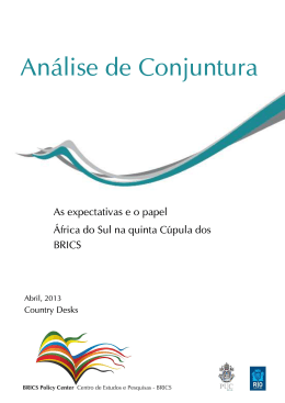 As expectativas e o papel África do Sul na