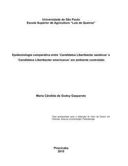 Epidemiologia comparativa entre `Candidatus Liberibacter asiaticus